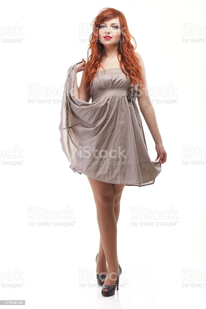 lovely redhead girl in elegant dress royalty-free stock photo