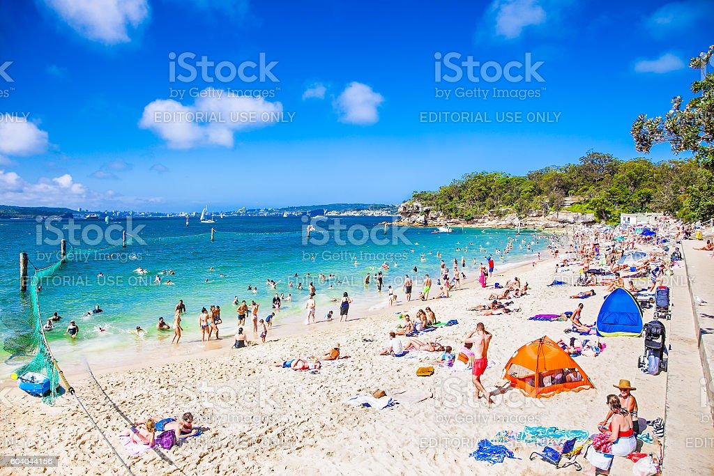Lovely sandy Shark Beach in Nielsen national park near Sydney stock photo