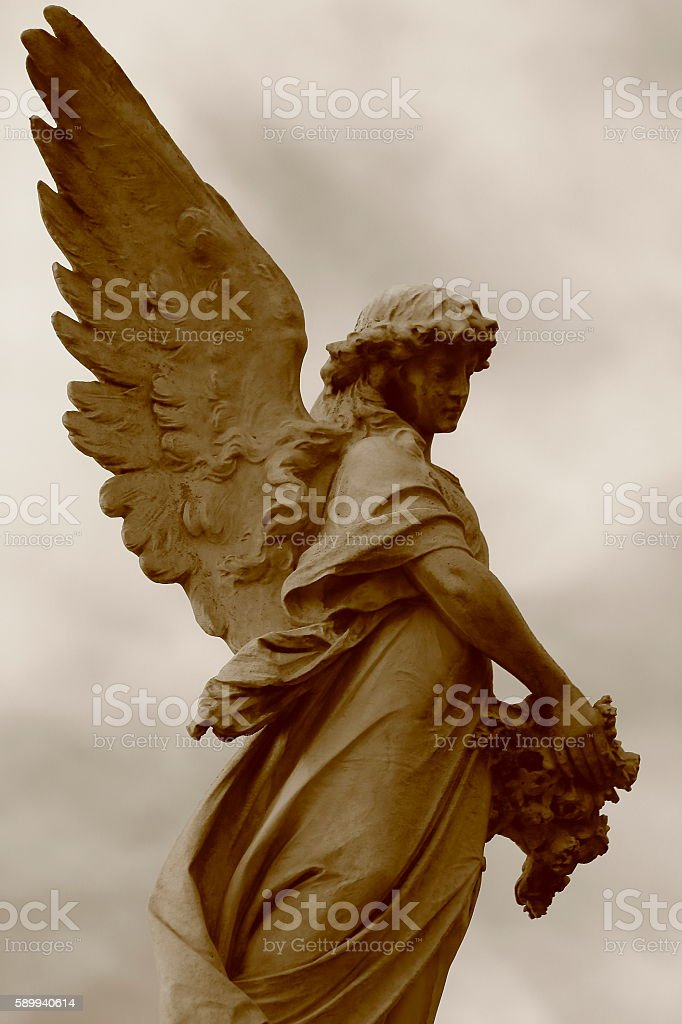Lovely Sepia Black and White Madonna Angel peaceful contemplation stock photo