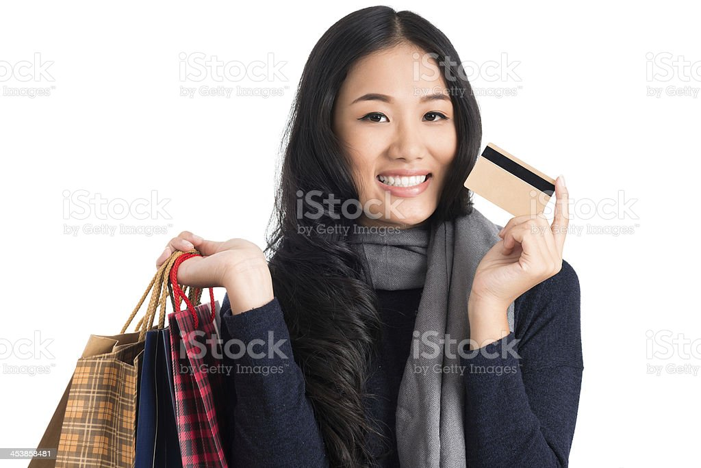 Lovely shopaholic royalty-free stock photo