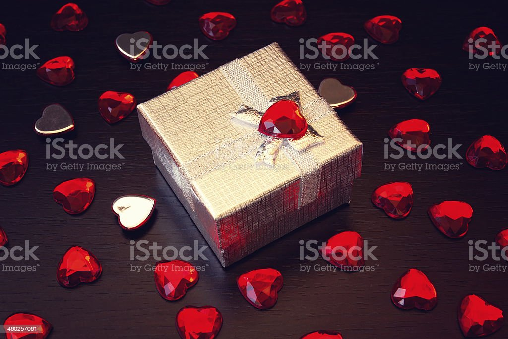 lovely silver gift box for valentine's day royalty-free stock photo