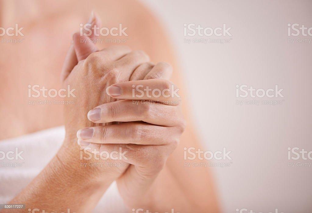Lovely soft hands stock photo