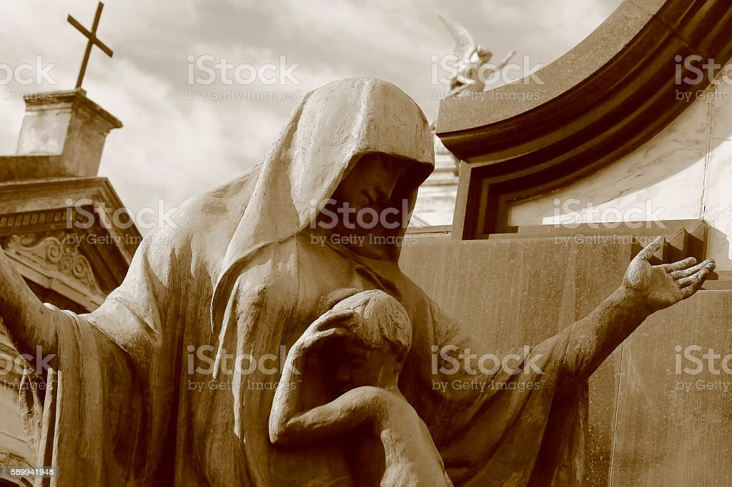 Lovely Sépia Madonna Angel, mother care, Recoleta Cemetery stock photo