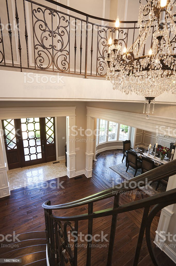 Lovely staircase and foyer in elegant home. royalty-free stock photo
