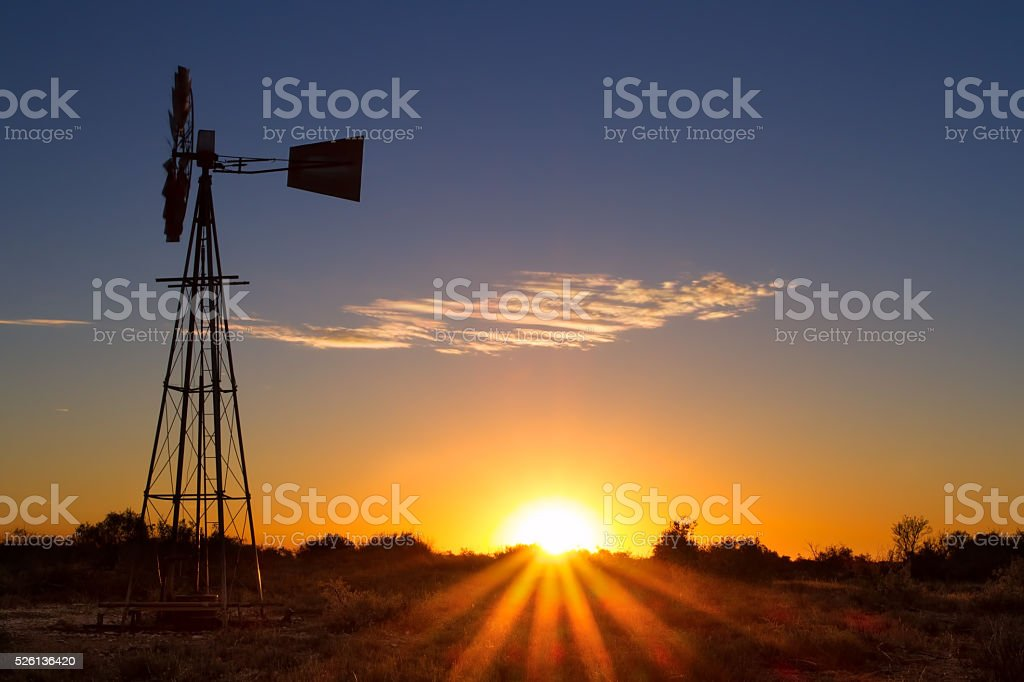 Lovely sunset in Kalahari with windmill and grass stock photo
