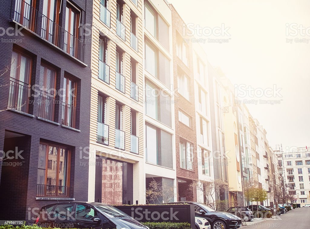 lovely townhouses at berlin stock photo