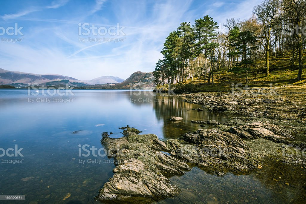 Lovely View Of Derwentwater Lake In The Lake District. stock photo
