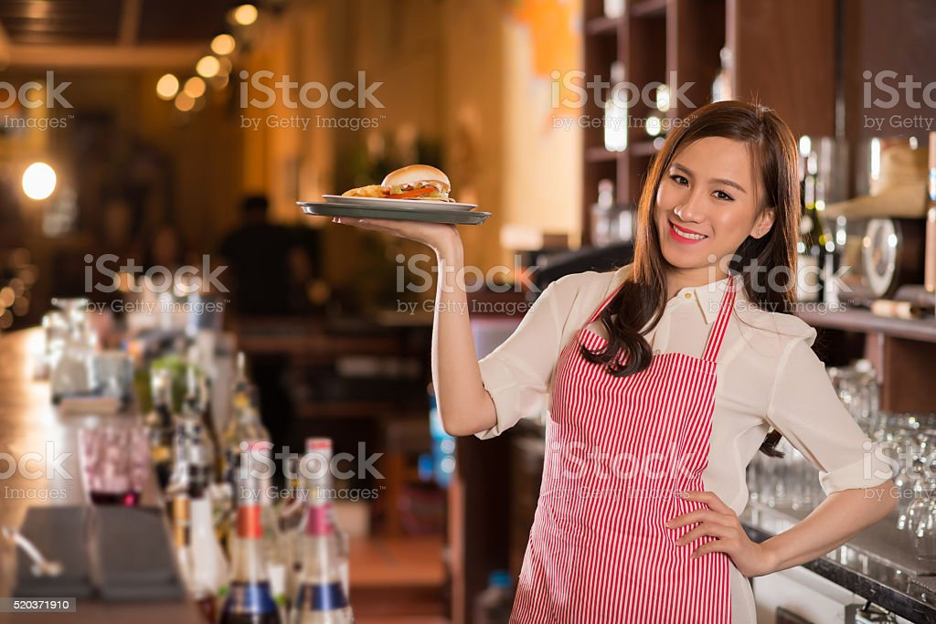 Lovely waitress stock photo