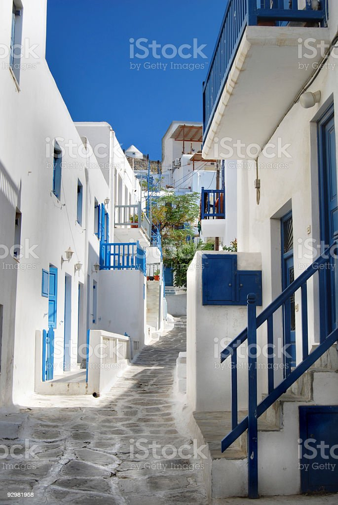 Lovely walking path through the city of Mykonos Greece royalty-free stock photo