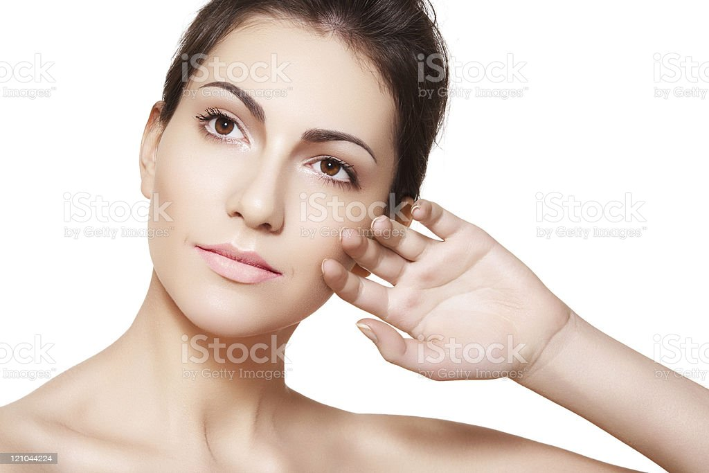 Lovely woman model with clean skin, natural make-up royalty-free stock photo