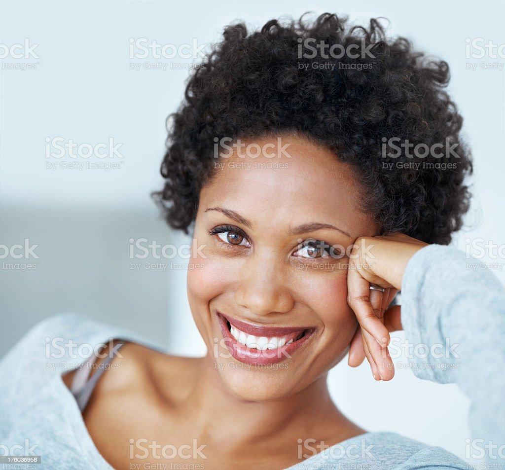 Lovely woman smiling stock photo