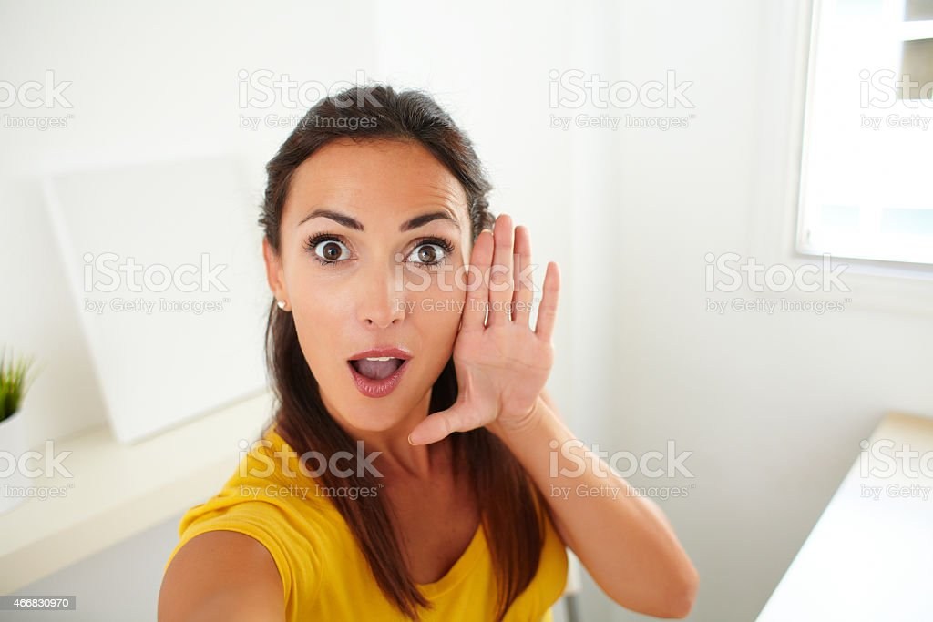 Lovely woman taking a funny selfie with phone stock photo