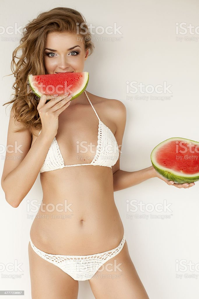 Lovely woman with watermelon royalty-free stock photo