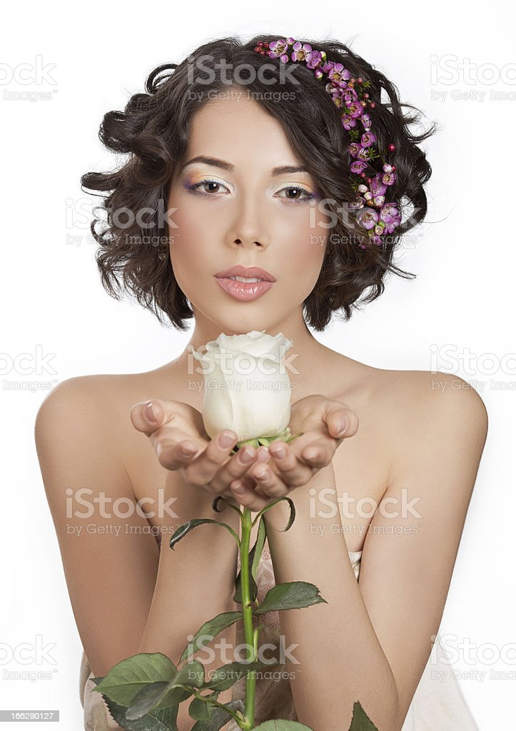 Lovely young sexy girl with a white rose royalty-free stock photo