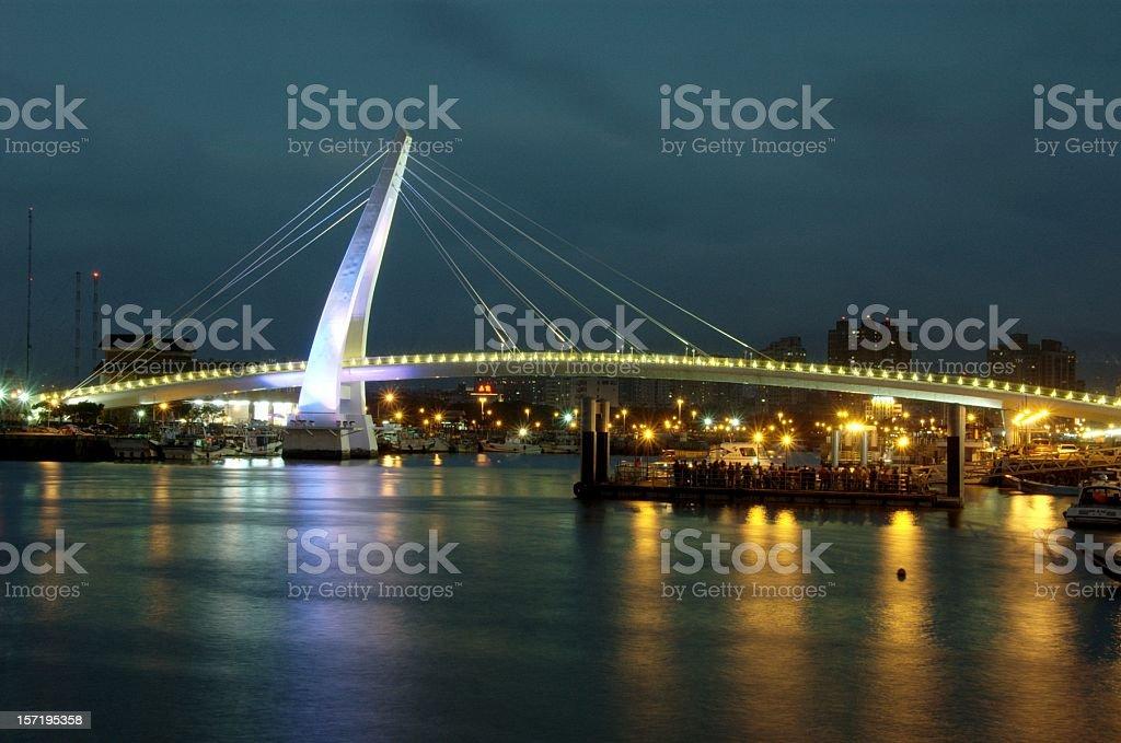 Lover Bridge in DanShui, Taiwan, during dusk royalty-free stock photo