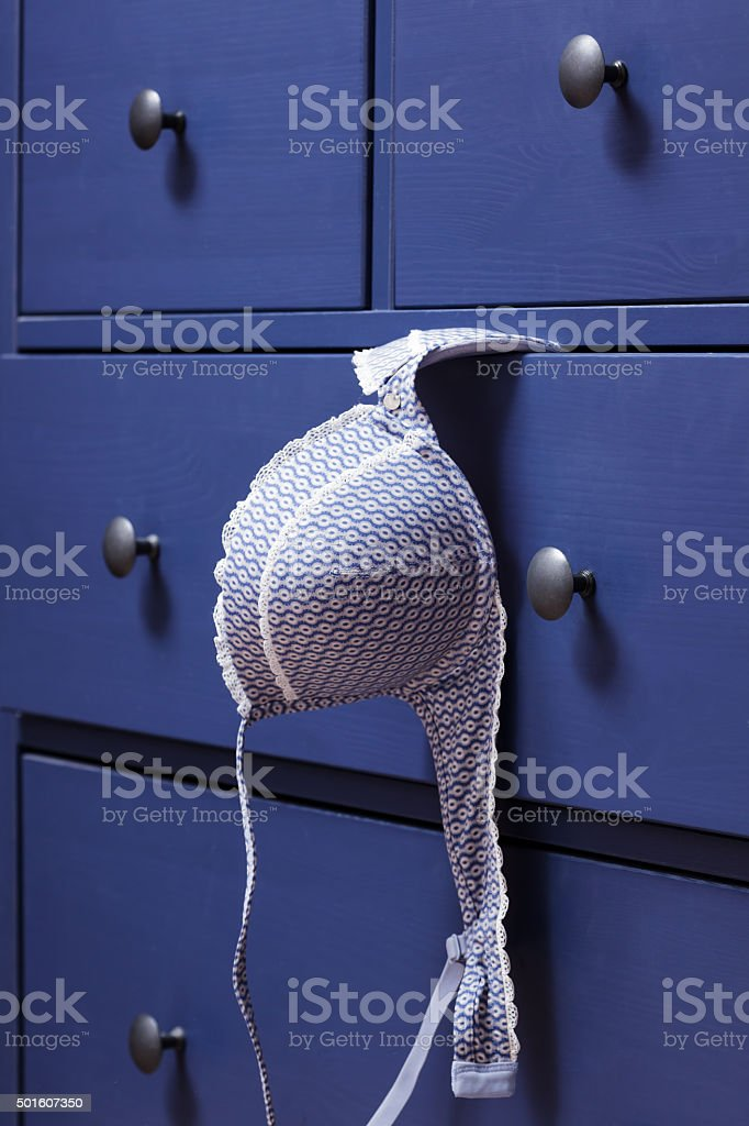 Lover left her bra after the meeting. stock photo