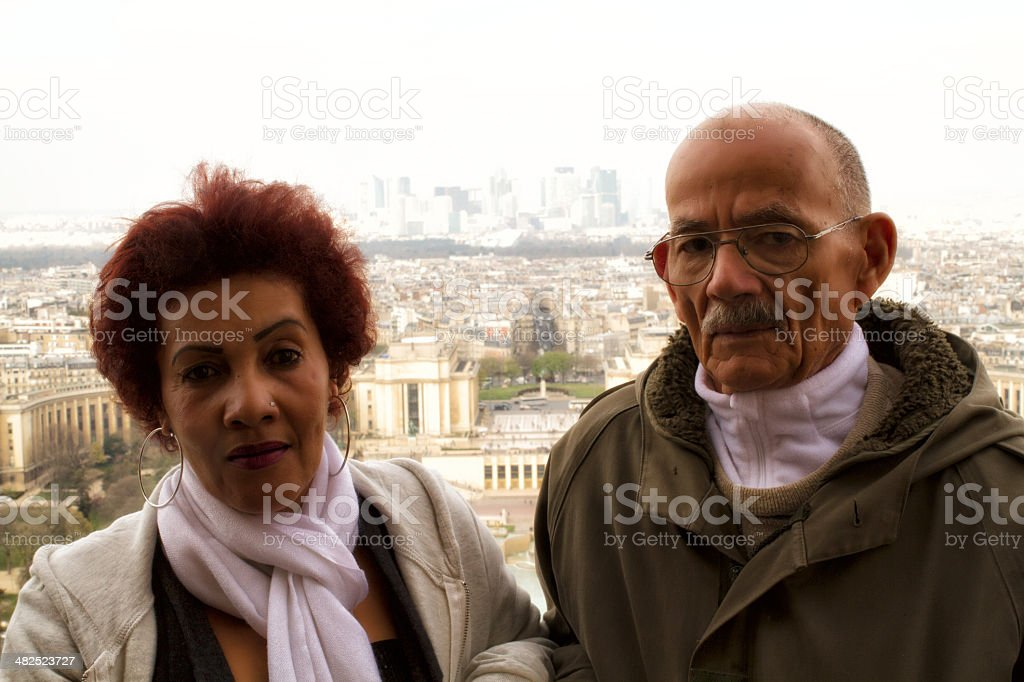 Lover visiting the Eiffel Tower royalty-free stock photo