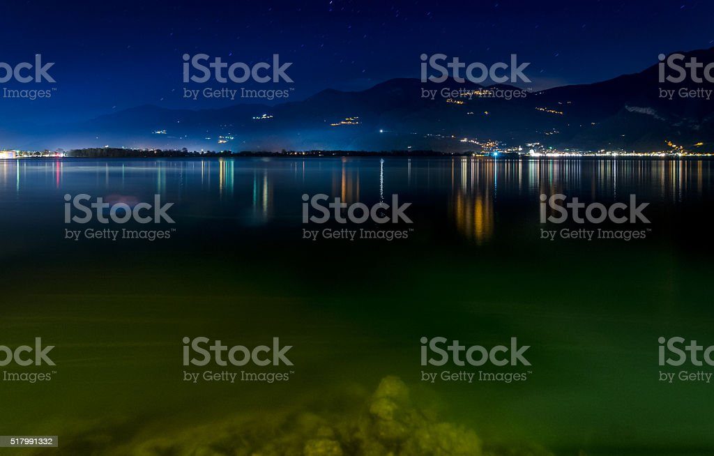 Lovere, Iseo Lake night lights stock photo