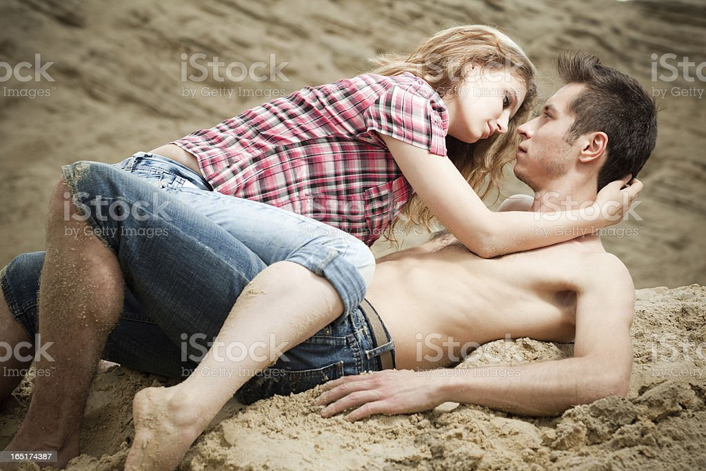 Lovers at sand royalty-free stock photo