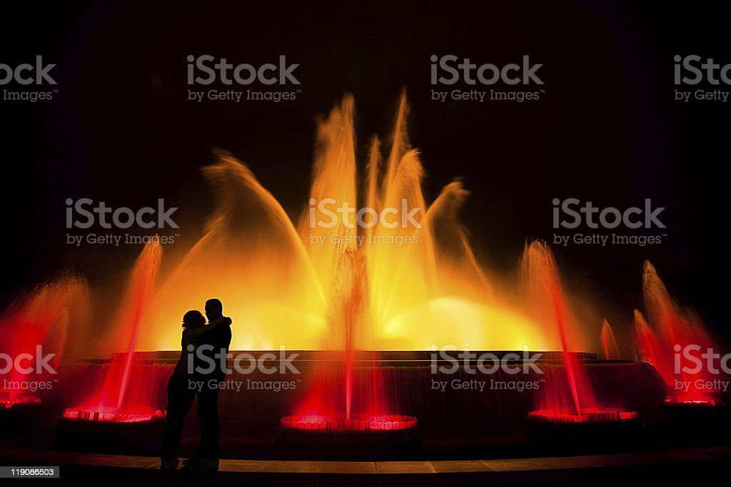 Lovers at the Magic Fountain stock photo