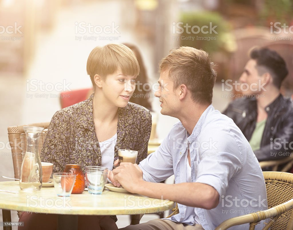 Lovers couple having breakfast at bar royalty-free stock photo