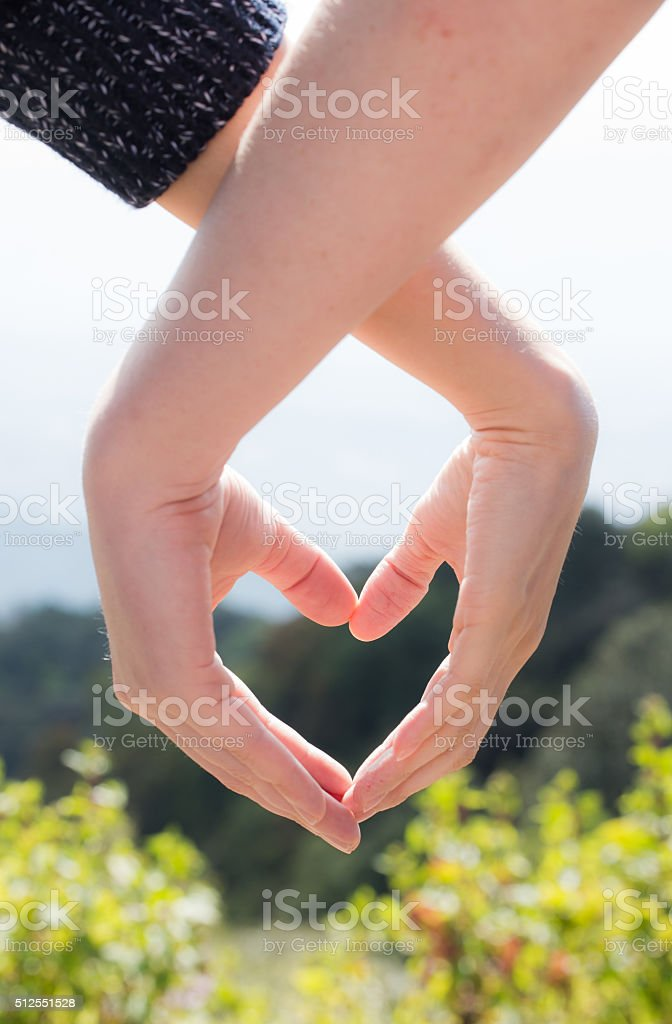 lovers couple making a heart with hands stock photo