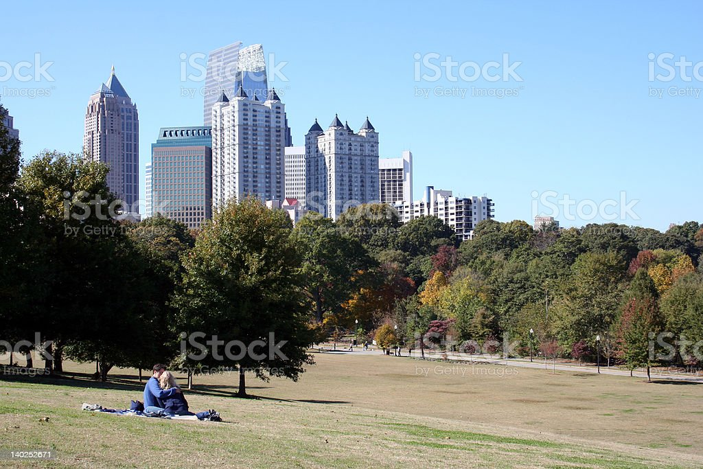 Lovers in a City Park stock photo
