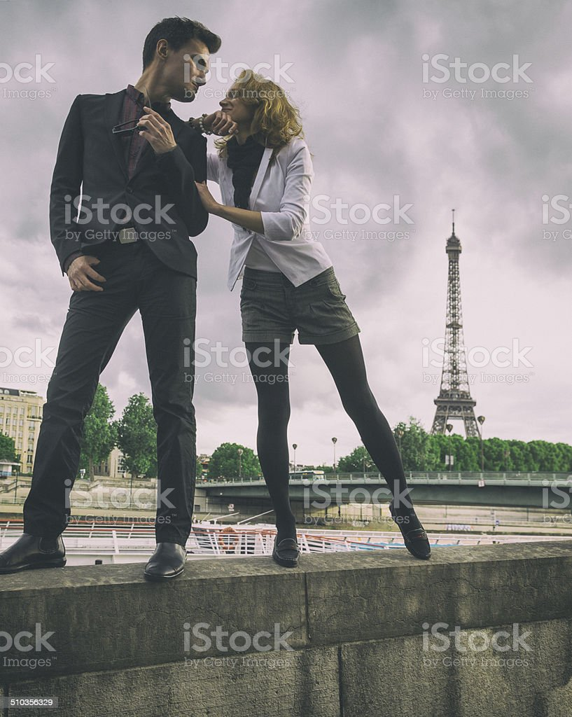 Lovers in Paris stock photo