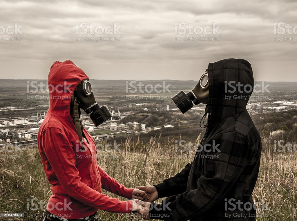 lovers in the Toxic Environment stock photo