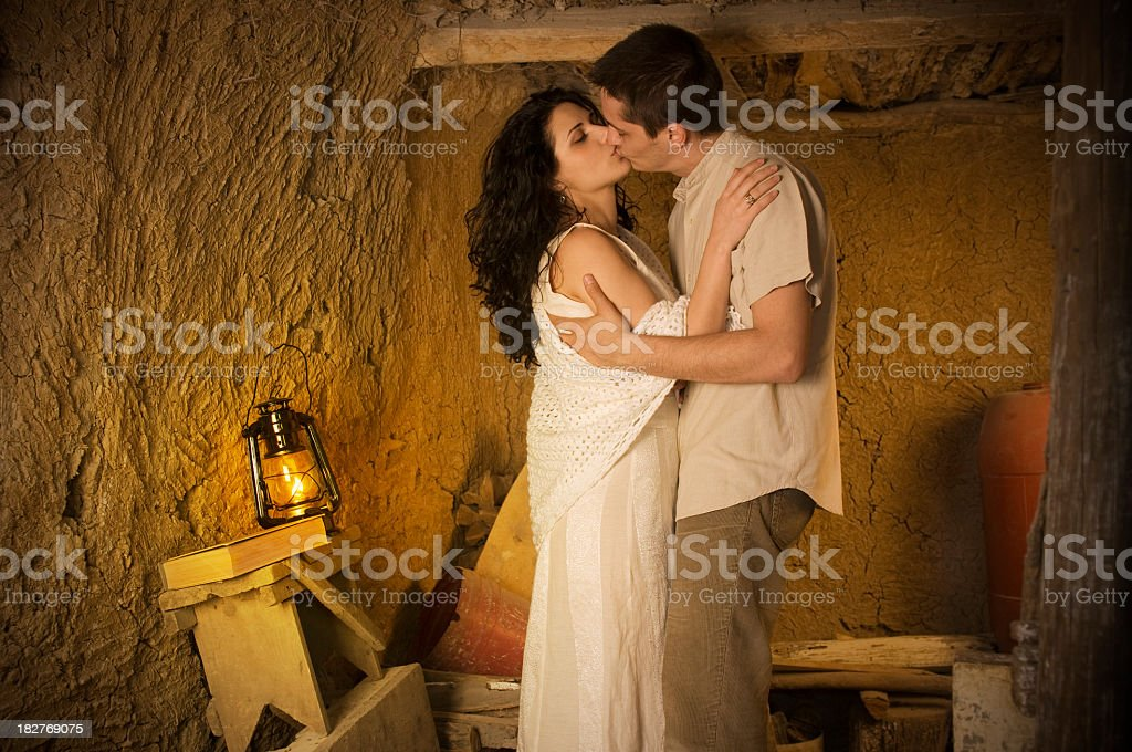 Lovers kissing royalty-free stock photo