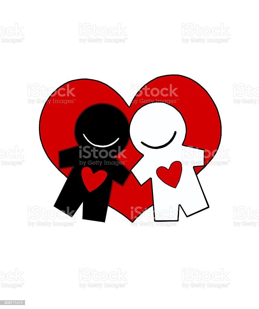 Amantes En El Marco De Un Gran Corazón Agarrar De La Mano Stock Foto ...