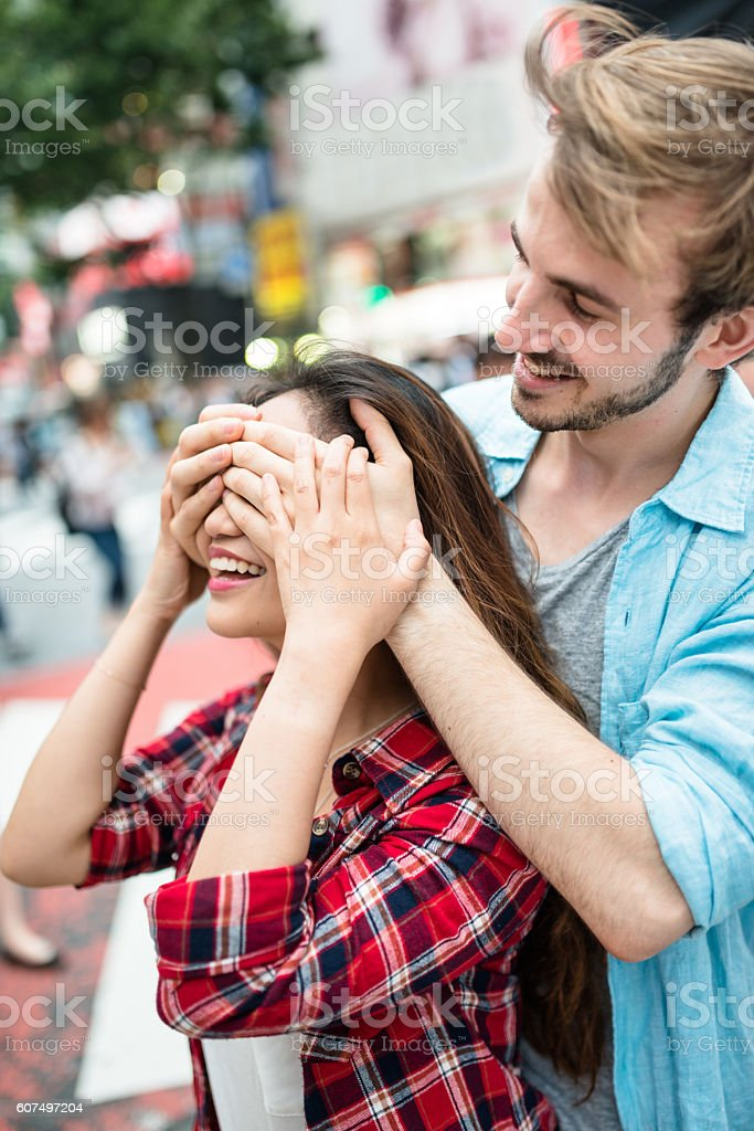 lovers travel together in Tokyo stock photo
