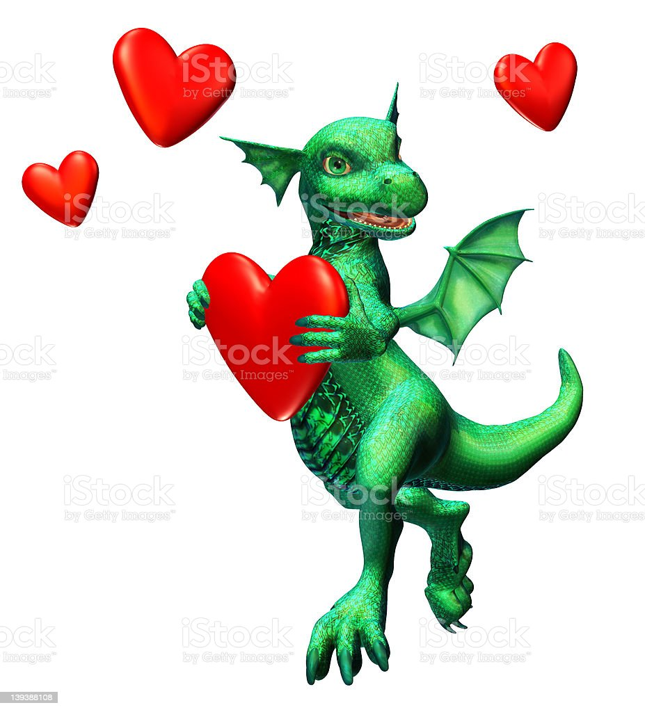 Lovesick Dragon - includes clipping path royalty-free stock photo
