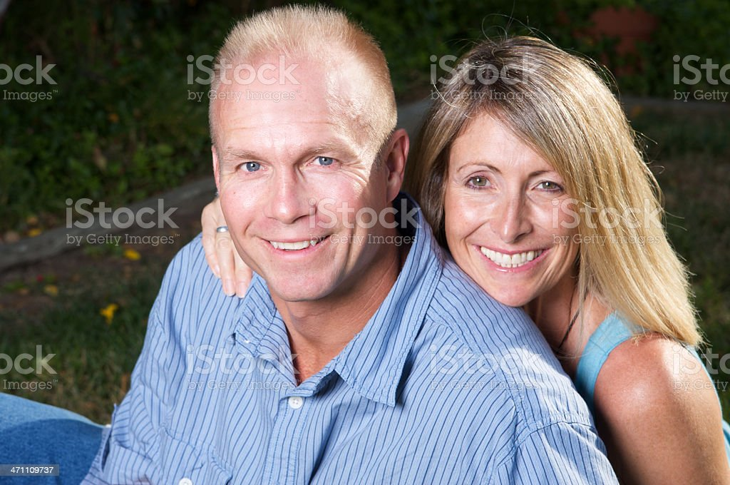 Loving Adult Couple In Their Forties Outdoors royalty-free stock photo