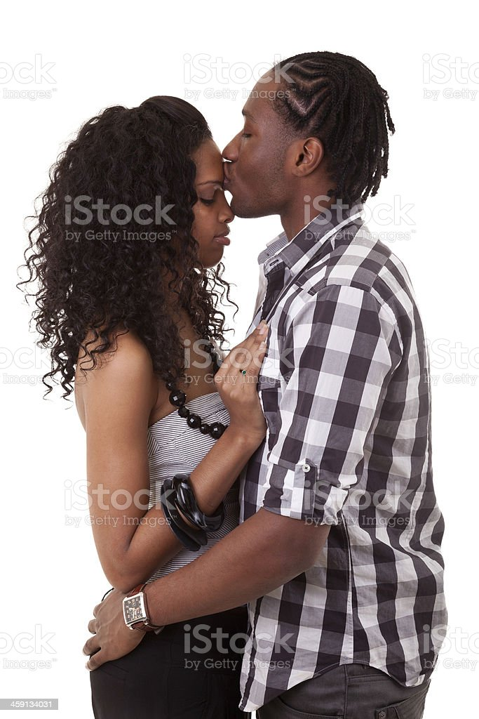 Loving african american couple kissing - Black people royalty-free stock photo