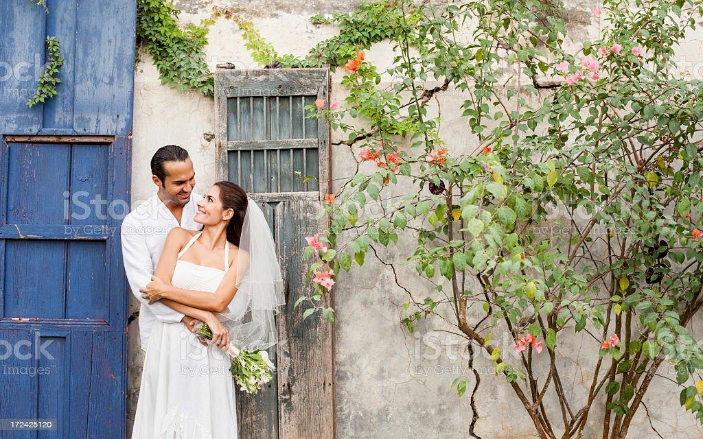Loving and caring wedding couple royalty-free stock photo
