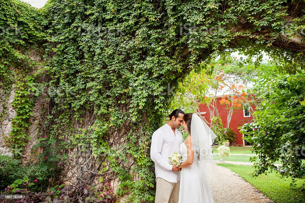 Loving bride and groom stock photo