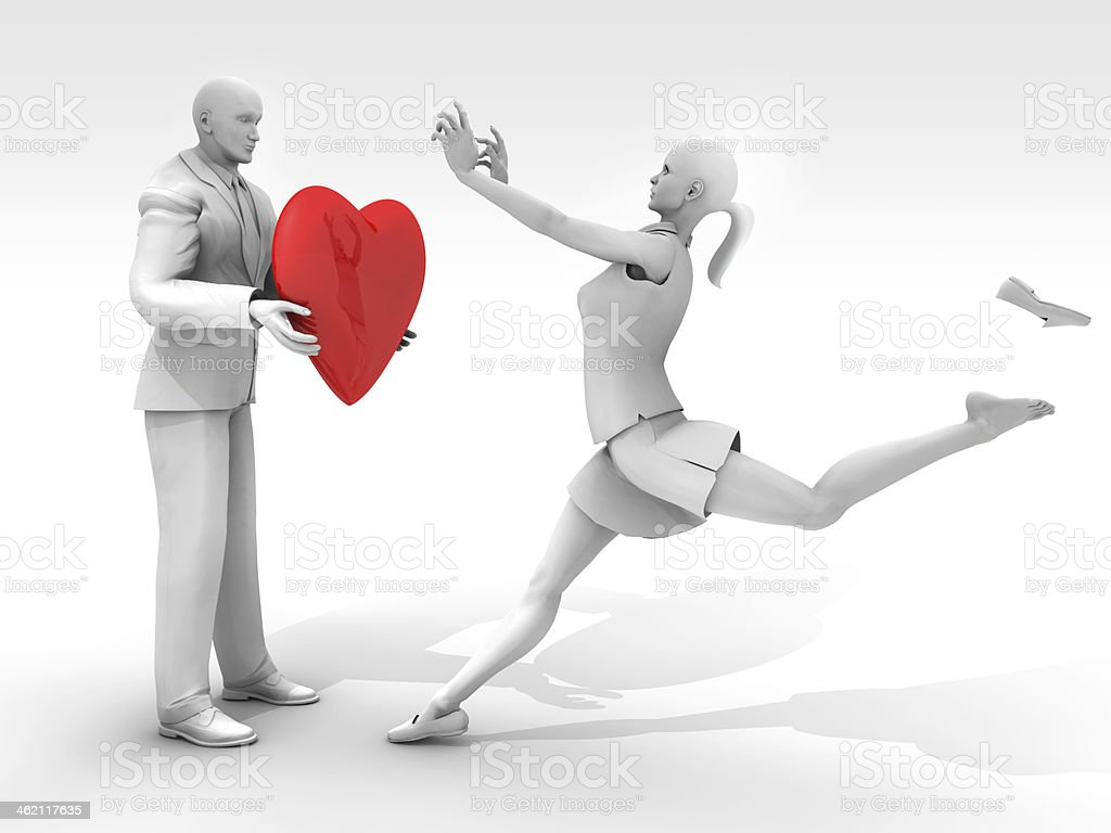 Loving Couple and Red Heart royalty-free stock photo