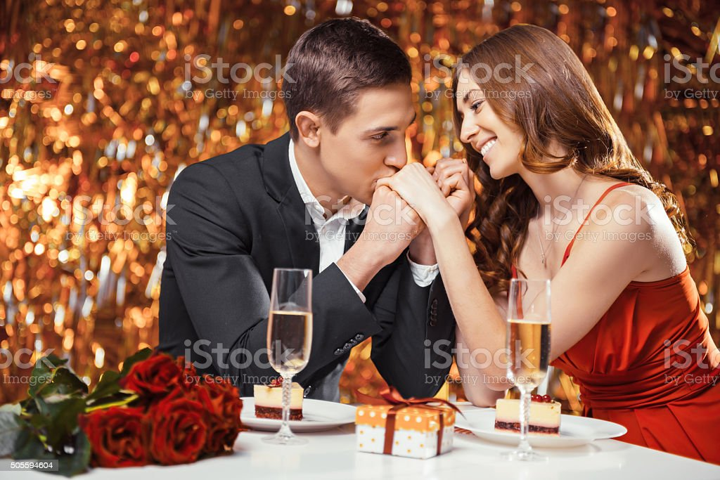 Loving couple at Valentines day stock photo