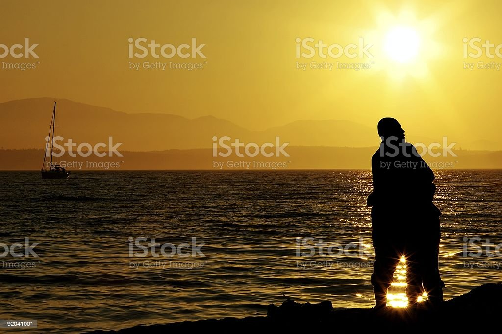 Loving Couple - Beach Embrace royalty-free stock photo