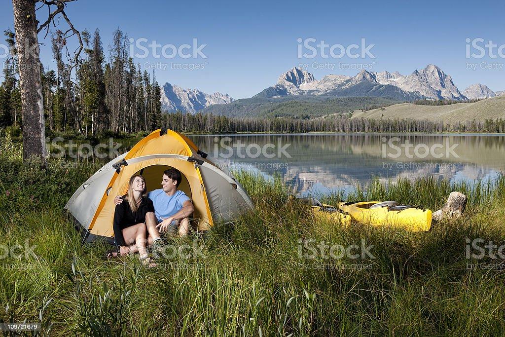 Loving Couple Camping royalty-free stock photo