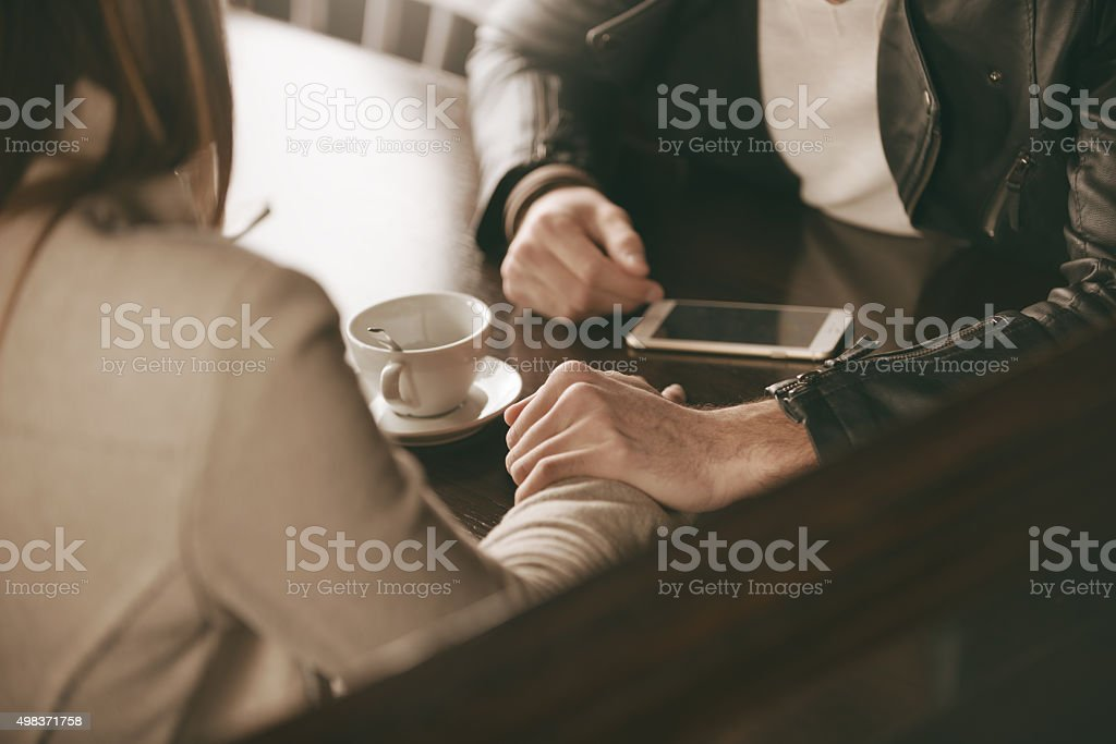 Loving couple dating stock photo