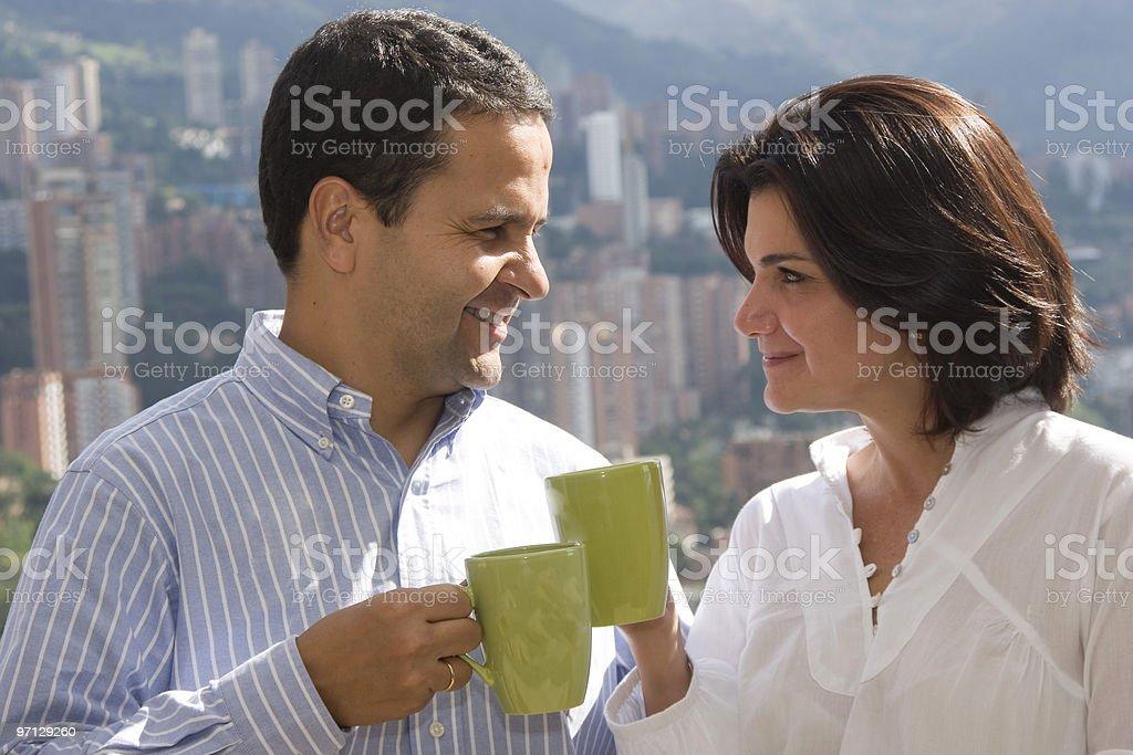 Loving couple drinking cafe royalty-free stock photo