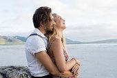 Loving couple embrace