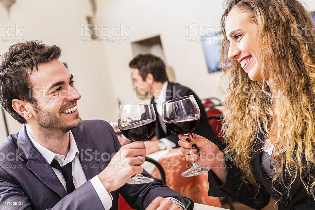 Loving Couple Enjoying Italian Wine royalty-free stock photo