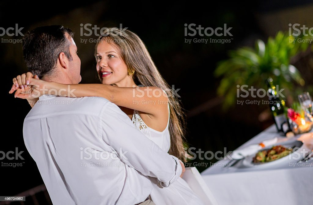 Loving couple in a romantic getaway stock photo
