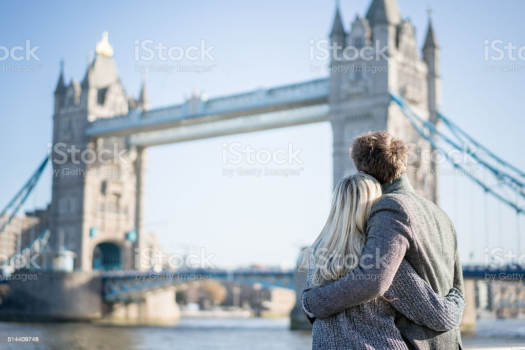Loving couple in London stock photo