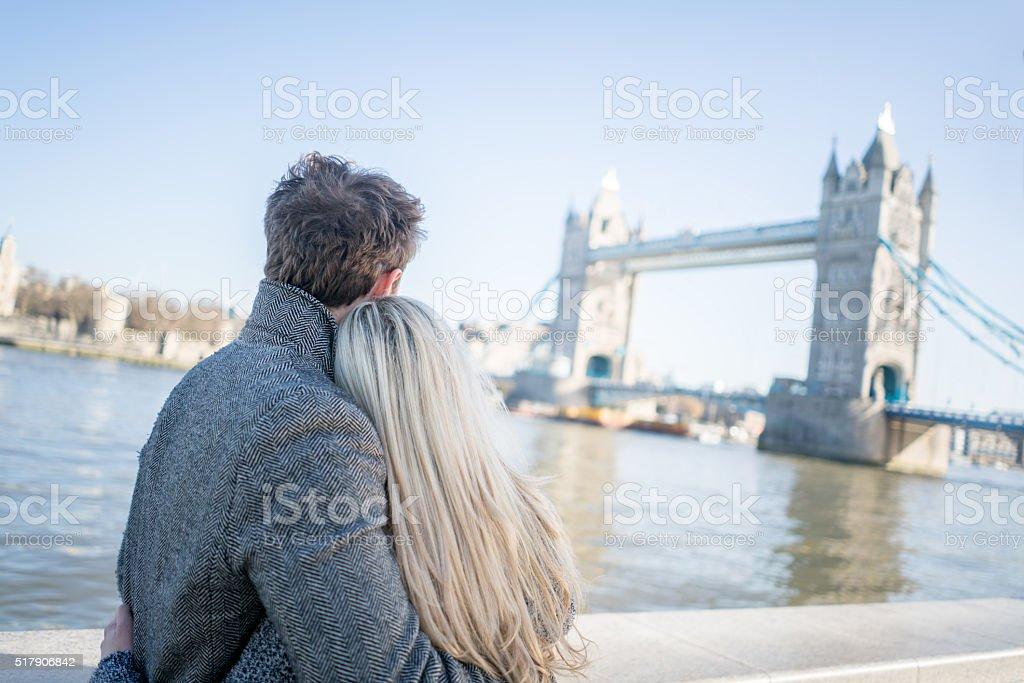 Loving couple in London stock photo