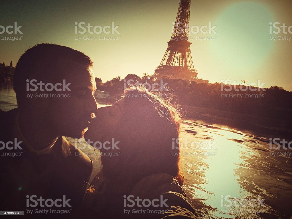 Loving couple in Paris stock photo