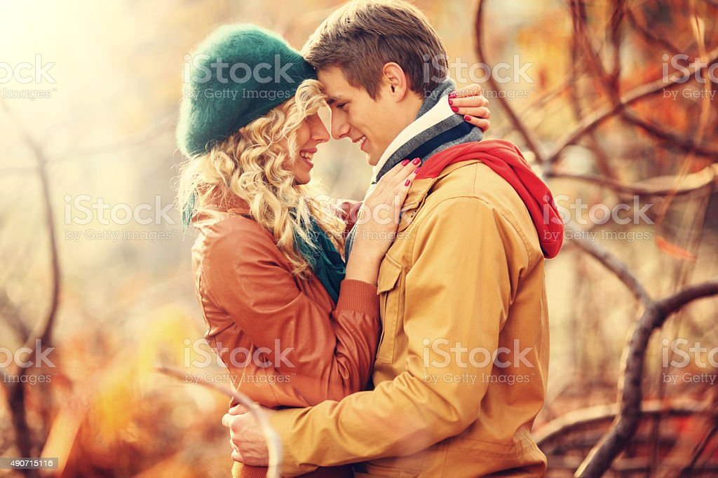 Loving couple in park. stock photo